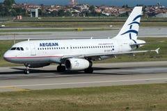SX-DGF爱琴海航空公司,空中客车A319-132 免版税库存照片