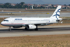 SX-DVT Aegean Airliens, Airbus A320-232. SX-DVT is rolling for take-off on runway 35L at Istanbul Ataturk Airport LTBA, August 15 , 2015 royalty free stock photo