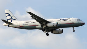 SX-DVU Aegean Airlines, Airbus A320-232. SX-DVU is on final approach runway 05 of Istanbul Ataturk Airport LTBA, November 15 , 2015 royalty free stock photos