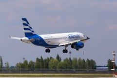SX-EMB Ellinair Airbus A319-100 aircraft landing on the runway. Borispol, Ukraine - May 25, 2018: SX-EMB Ellinair Airbus A319-100 aircraft landing on the runway Royalty Free Stock Image