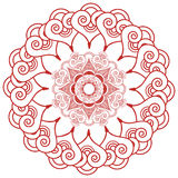 亚洲文化启发了婚礼构成坛场无刺指甲花纹身花刺在花形状的鞋带装饰由叶子,在红色sy的心脏做成 库存照片