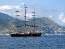 SY Amsterdam. Luxury 3 mast tall ship on the Mediterranean anchored in the bay of Beaulieu Royalty Free Stock Photography