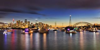 Sy CBD Cremorne Boats Panorama Royalty Free Stock Images