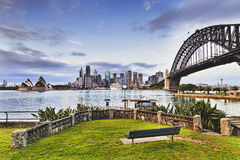 Sy CBD Kirribilli Bench Grass Stock Photos