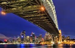 Sy CBD onder brug milsons zonsondergang Stock Fotografie