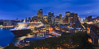 Sy CBD QM2 Panorama sunset Royalty Free Stock Photography
