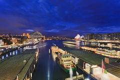 Sy Circular QUay from Express Sunset Royalty Free Stock Photos