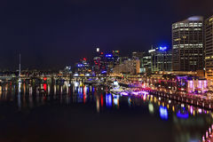 Sy Darling Harbour Above Dark Royalty Free Stock Images