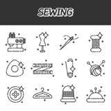 Sy den plana symbolsuppsättningen Arkivfoto