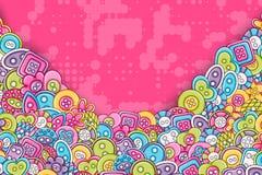 Sy handgjort hantverkbegrepp för knappar för klotterbakgrund för tecknad film 3d design vektor illustrationer