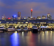 Sy Pyrmont Boats Tower Set Royalty Free Stock Image