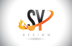 SY S Y Letter Logo with Fire Flames Design and Orange Swoosh. Royalty Free Stock Photography