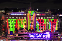 Sy Vivid 2016 MCA Ship. Sydney, Australia - 2016, June 7: Facade of Sydney Museum of Contemporary arts under projection of Vivid Sydney light show behind harbour Stock Photos