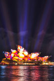 Sy Vivid 17 Op Side 60mm Vert. Sydney, Australia - 8 June 2017: Sydney opera house during Vivid Sydney light show with projection of video image on its side stock photography