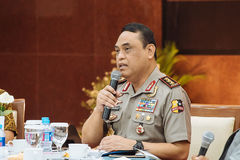 Syafruddin är nationell polisersättaren Chief Royaltyfri Fotografi