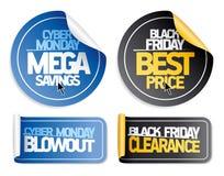 Syber lundi et autocollants noirs de vente de vendredi illustration de vecteur