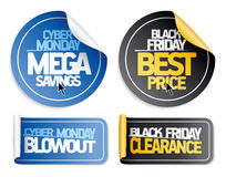Syber lunedì ed autoadesivi neri di vendita di venerdì Fotografie Stock Libere da Diritti