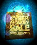 Syber måndag försäljningsdesign med den guld- crystal shoppingpåsen Royaltyfri Bild