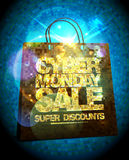 Syber monday sale design with gold crystal shopping bag. Royalty Free Stock Image