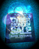 Syber monday sale design with silver crystals shopping bag, glare clearance poster illustration Royalty Free Stock Image
