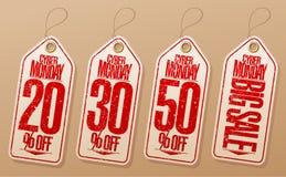 Syber monday sale labels set. 20% off, 30% off, 50% off, big sale stock illustration