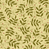 Syberian cranberry seamless pattern. Small red cranberries and branches of leaves tossed on a beige background | Vector illustration Royalty Free Stock Photography