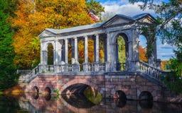 Syberyjska marmurowa galeria - marmoreal most w krajobrazowym parku Tsarskoe Selo Obrazy Stock
