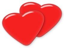 Sybmbol van de de dagliefde van de valentijnskaart - Twee rode harten Royalty-vrije Stock Afbeeldingen