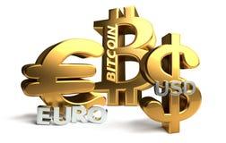 Sybol перевода доллара США 3d Bitcoin евро золотое Стоковая Фотография RF