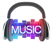 Sybol music and headphone Royalty Free Stock Images