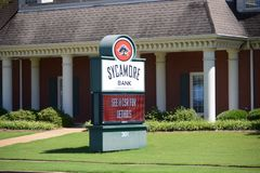 Sycamore Bank Sign, Senatobia, Mississippi. Sycamore Bank Sign, As a leading bank in Senatobia MS, we offer a wide range of financial services such as free royalty free stock photography
