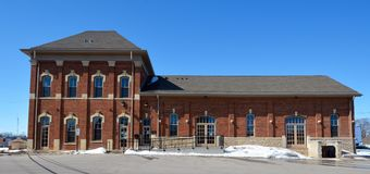Sycamore Railroad Depot. This is a Winter picture of the former Chicago and Northwestern Depot in Sycamore, Illinois. The train station was built in 1865. The royalty free stock photography