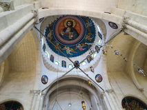 Sychar, Israel, el 11 de julio de 2015 : El interior de la iglesia en Sychar Fotos de archivo libres de regalías