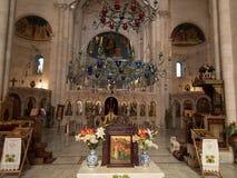 Sychar Israel, Juli 11, 2015 : Inre av kyrkan i Sy Royaltyfria Foton
