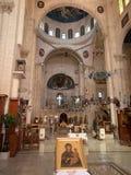 Sychar Israel, Juli 11, 2015 : Inre av kyrkan i Sychar Arkivbilder