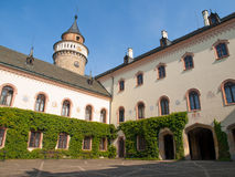 Sychrov Castle courtyard. Neo-Gothic style chateau near Turnov, Czech Republic.  stock photos