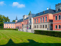 Sychrov Castle with pink facade in Czech Republic Stock Photo