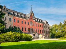 Sychrov Castle with pink facade in Czech Republic Royalty Free Stock Photo
