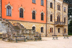 Sychrov chateau. The neo-Gothic chateau in the Czech republic, front view royalty free stock photos