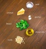 Sycylijscy pesto składniki na drewnianym stole Zdjęcie Stock