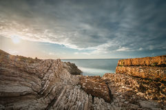 Sycylijski wybrzeże przy zmierzchem Obrazy Royalty Free