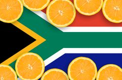 Sydafrika flagga i citrusfruktskivahorisontalram royaltyfri fotografi
