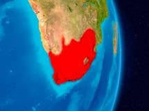 Sydafrika från utrymme Arkivbild