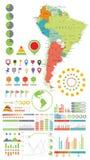Sydamerika översikt och Infographics designbeståndsdelar På white stock illustrationer