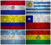 Sydamerika flaggor 1 vektor illustrationer
