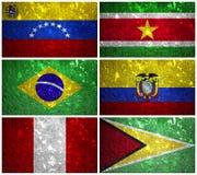 Sydamerika flaggor 2 Arkivbilder