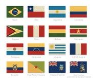Sydamerika flaggor med en tappning färgar vektor illustrationer