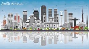 Sydamerika horisont med berömda gränsmärken och reflexioner vektor illustrationer