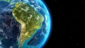 Sydamerika kontinent tillsammans med stadsljus från yttre rymd royaltyfri illustrationer