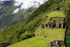 Sydamerika - Peru, Inca fördärvar av Choquequirao arkivbild